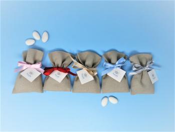 Sacchettino porta confetti corda con bigliettino