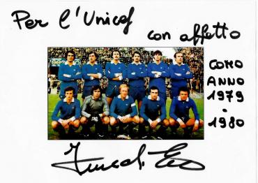 Autografo su ricordo plastificato di Ennio Fiaschi